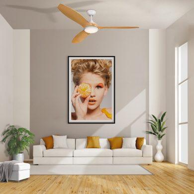 """מאוורר תקרה """"CYPRESS 56 לבן/עץ עם שלט"""