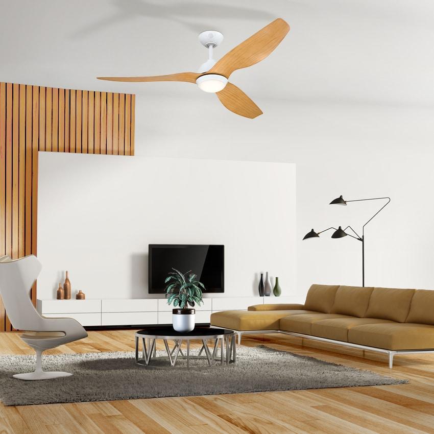 """מאוורר תקרה """"MAGNOLIA 52 לבן/עץ עם שלט"""