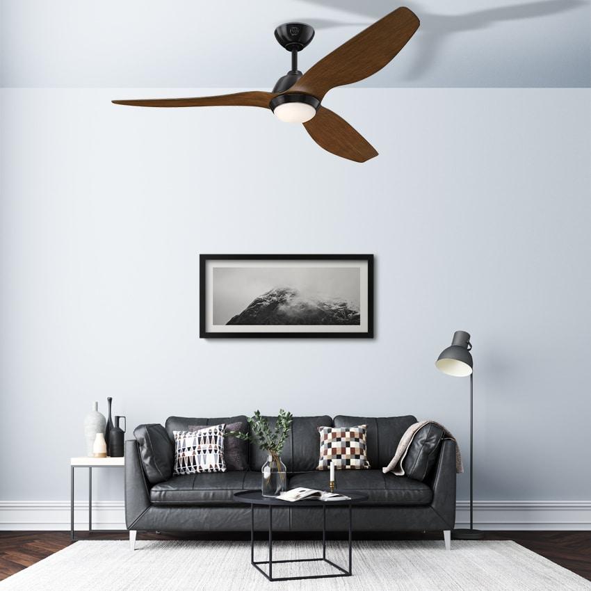 """מאוורר תקרה """"MAGNOLIA 52 שחור/עץ עם שלט"""