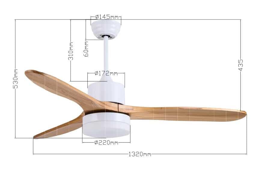 """מאוורר תקרה 42"""" CCT לבן עץ דגם SWAN מוט ארוך"""