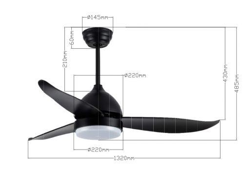 """מאוורר תקרה 52"""" CCT צבע שחור דגם KANSAS מידות מוט ארוך"""