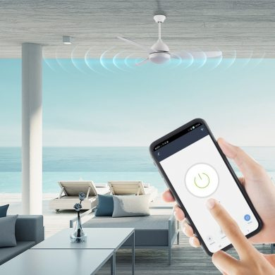 מאוורר תקרה לפרגולה דולפין שחור עם WIFI ותאורה הפעלה באמצעות אפליקציה